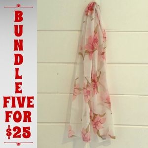 """🛍Gorgeous sheer white & pink Lily scarf 60x13.5"""""""
